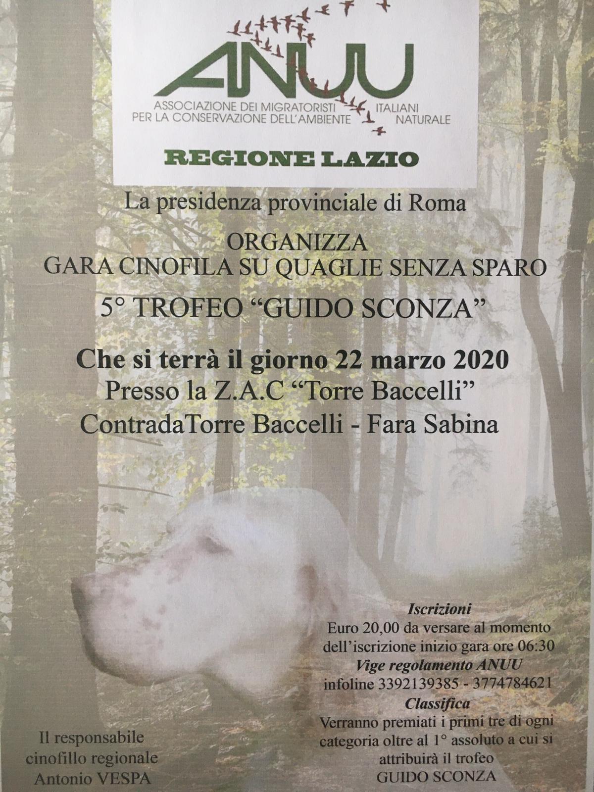 """5° trofeo """"Guido Sconza"""" in programma il 22 Marzo 2020 a FaraSabina"""